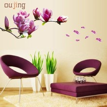 JY 20 Mosunx Business 2016 Hot Selling Fresh Nature Magnolia Flower Wall Sticker Decal Removable PVC Wall Sticker Home Decor(China)