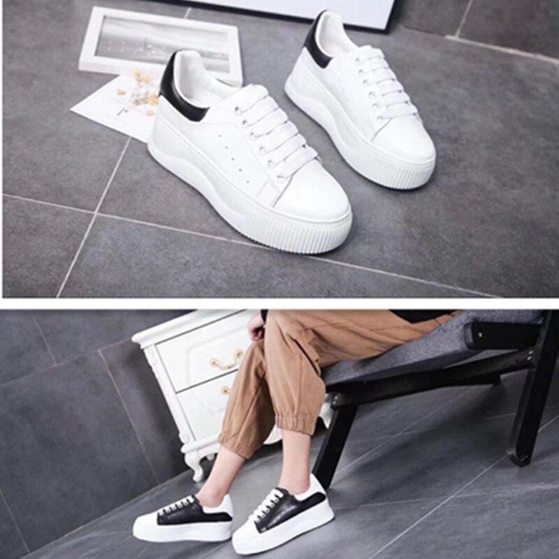 Pour forme Cuir À Bout Chaussures Décontractées Et Printemps Nouveauté Véritable En 2019 Plat D'été Rond Femmes Lacets Plate nPqA0Of