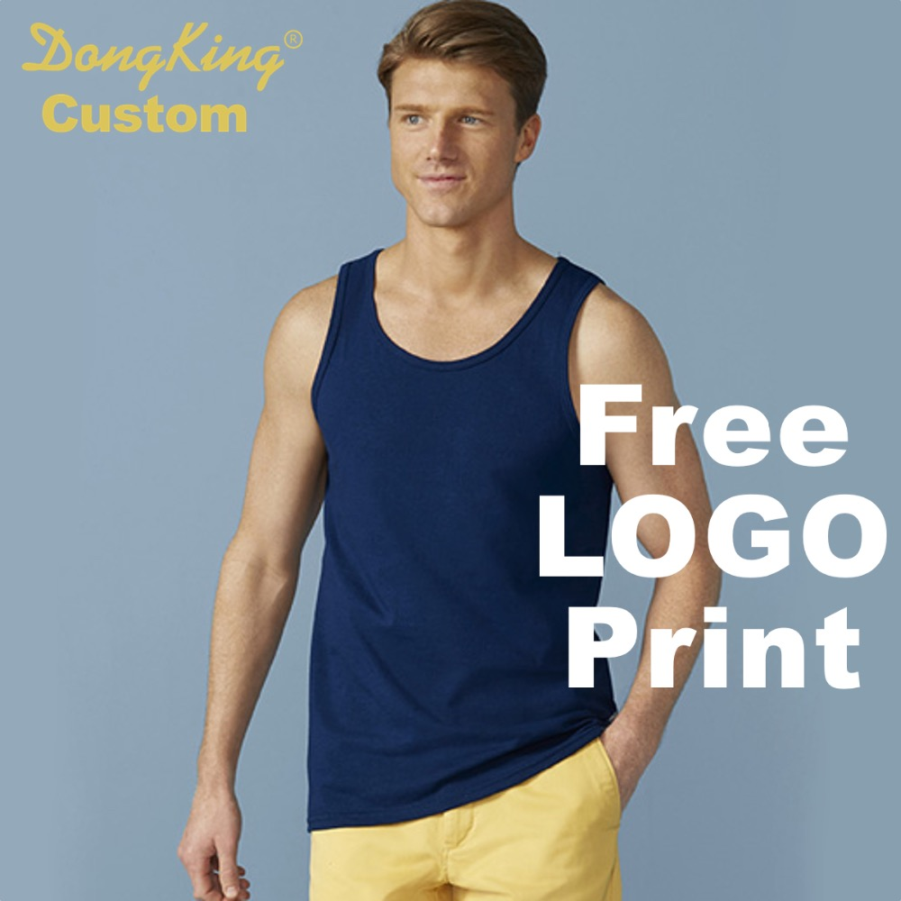 DongKing Custom   Tank     Top   G Bodybuilding   Tank     Tops   Personalized Print LOGO Classic Fit Premium Cotton Adult Men Women 4 colors