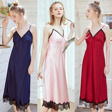 2019 Sexy Lace Women Sleepshirts Solid Simple Sleep Wear Sleeveless Bathrobe Long Silk Nightgown Spaghetti Strap Lady Sleepwear