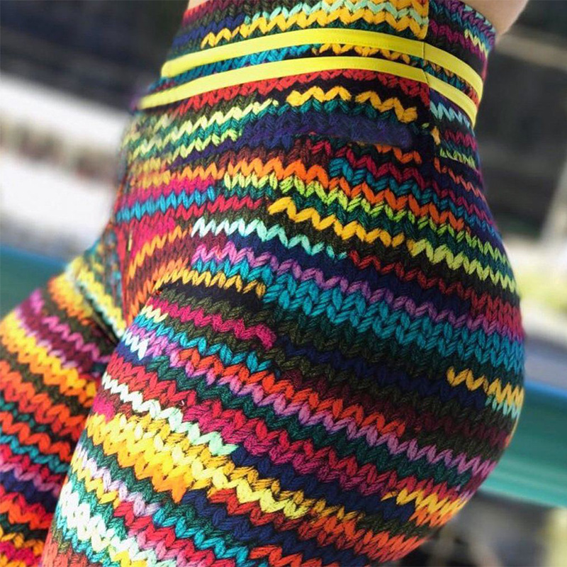 2018 New Original Knit Printing Leggings Women High Waist Elastic Fitness Colorful String Front Drop Shipping Legging ...