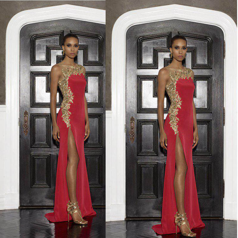 Custom Size 2019 New red formal   dress   Mermaid Satin Gold Lace Appliques Side Slit Party Gown abendkleider long   bridesmaid     dress