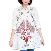 2017 Autumn New Long Sleeve Women Blouses Blusas Fashion Loose Plus Size Vintage Embroidery Shirt Tops Casual White Women Shirts