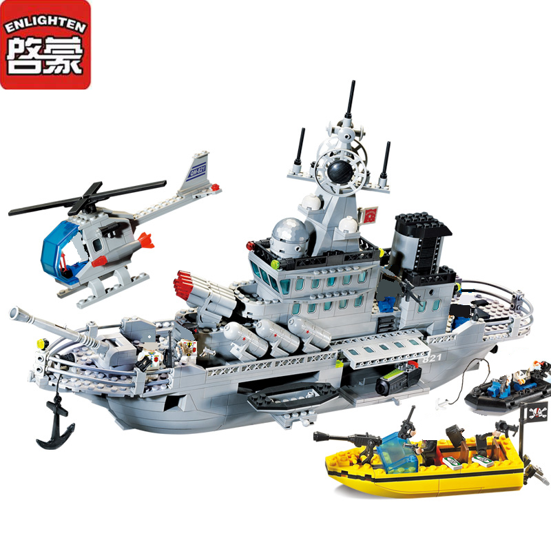Enlighten Blocks Missile Cruiser Model Building Blocks 843Pcs DIY Blocks Playmobil Plastic Brick Educational Toys For Children enlighten building blocks military cruiser model building blocks girls