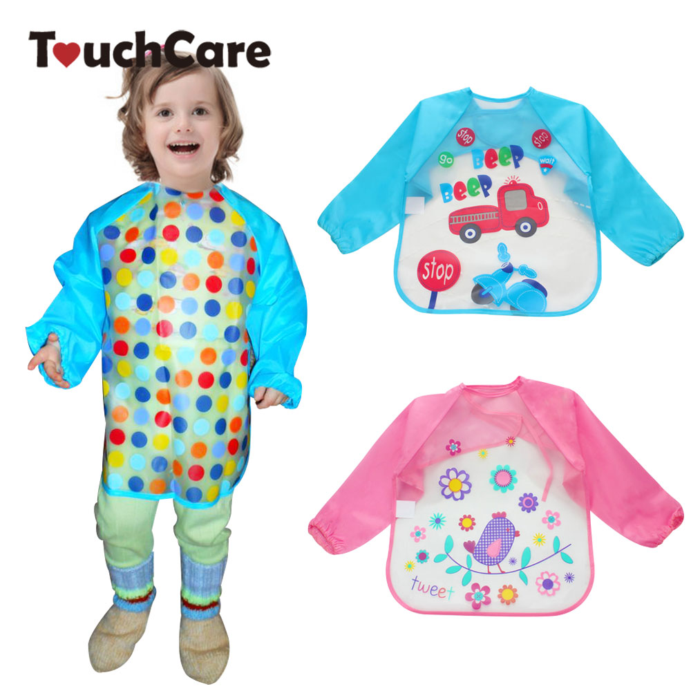 Cute Cartoon Colorful Baby Bibs Long Sleeve Art Apron Animal Smock Children Bib Burp Clothes Soft Feeding Eat Toddle Waterproof цена