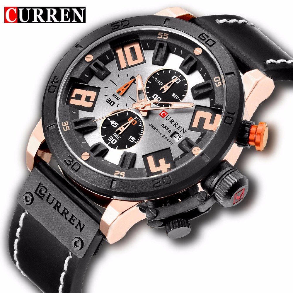 CURREN Men Sport Watches Casual Leather Strap Waterproof Chronograph Male Quartz Wrist Watch Luxury Fashion Military Watch Clock curren men s fashion and casual simple quartz sport wrist watch