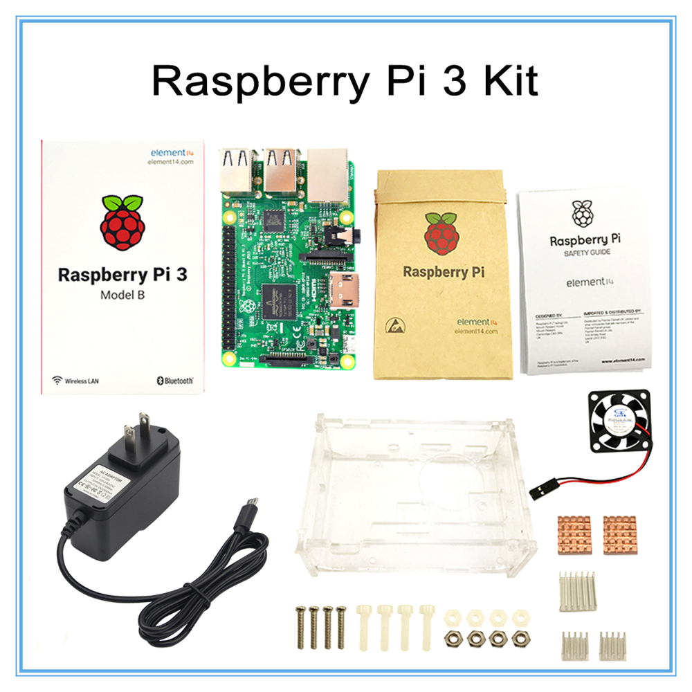 цена на Raspberry Pi 3 Model B Board +Raspberry Pi3 Case +Power Plug(EU &US)+Heat Sinks