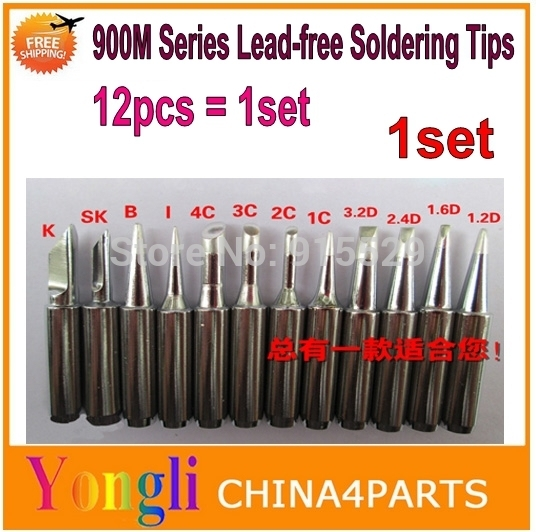 5sets High Quality 900M Series  Lead-free Soldering Tips Replaceable  (1set=12pcs) Free shipping