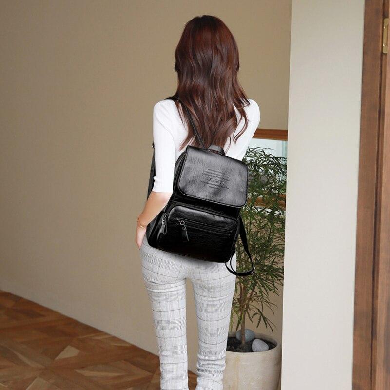 HTB1bZZnfCMmBKNjSZTEq6ysKpXaj 2019 Vintage Leather Backpacks Female Travel Shoulder Bag Mochilas Women Backpack Large Capacity Rucksacks For Girls Dayback New