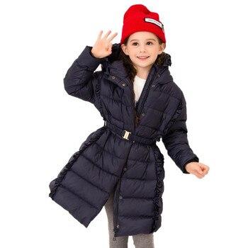 Brand baby girls winter new princess down jackets children ruffles belt slim down coats kids hooded outerwear tops 6-14Y ws915