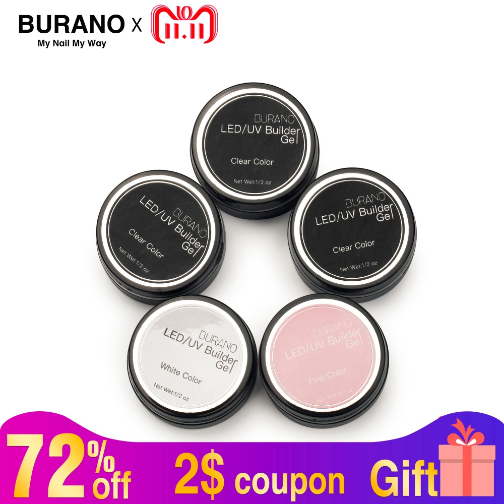 BURANO 5 pcs/set clear pink white Nail Art UV Gel Builder Tips Manicure kit Nail Tools uv gel polish 808 ibd конструирующий камуфлирующий розовый гель 5 ibd traditional uv gel led uv builder gel pink v 18017 56 г page 3