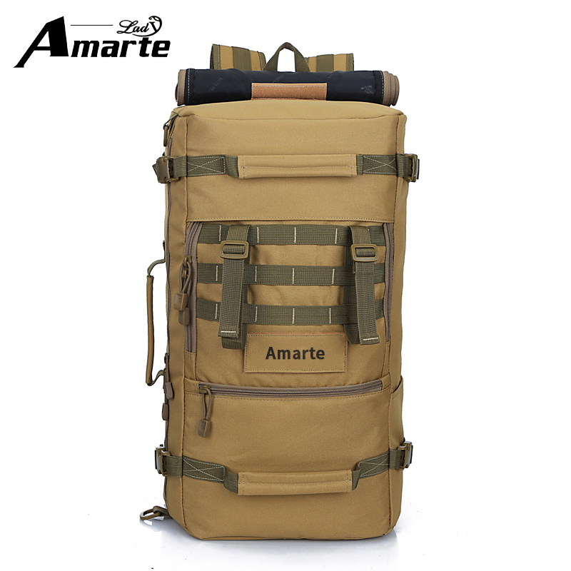 Amarte Large Capacity Men Black Backpack Casual Canvas Women 50L Travel Bag Mountaineering Bagpack Bucket Shoulder Bags