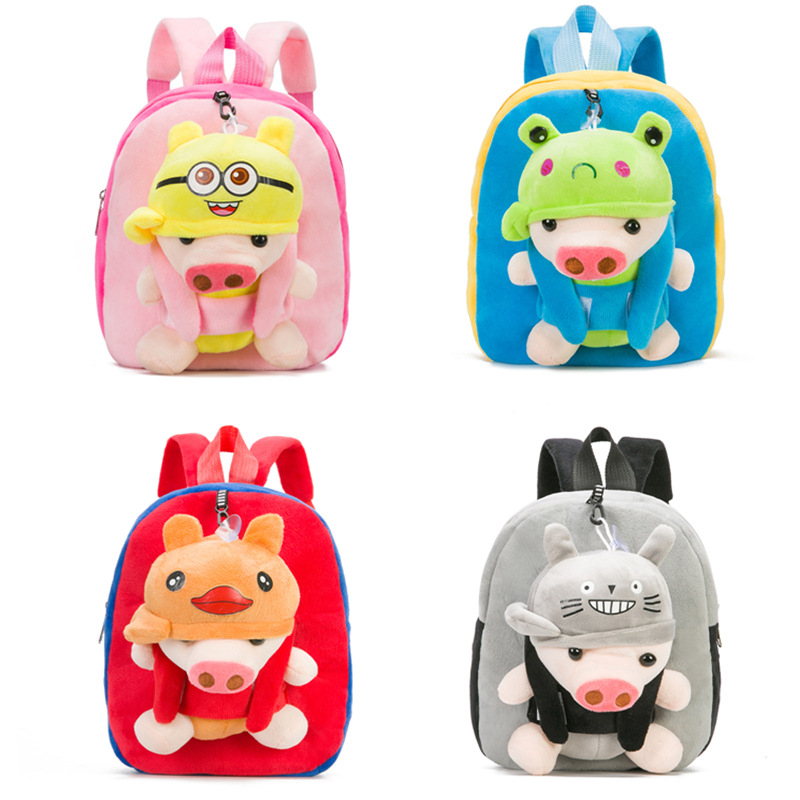 4533ffe459b2 US $9.91 38% OFF New Kids Plush Backpack Animals Kindergarten Schoolbag  Cute Cartoon Animal Pig Backpack Plush Shoulder Bag for Boys Girls-in Plush  ...