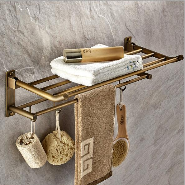 New arrival 50 cm Folding Bathroom Towel Rack Antique Foldable Fixed Bath Towel Holder Brief Bath Shelves Towel Rail стоимость