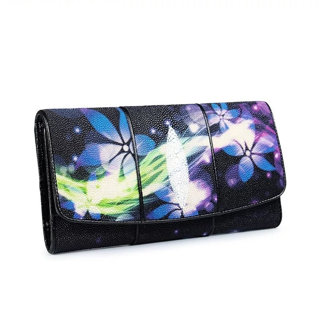 US $77 26 31% OFF|Fancy Magnet Button Closure Genuine Stingray Skin Women's  Large Card Wallet Zipper Coin Pocket Exotic Leather Lady Clutch Purse-in