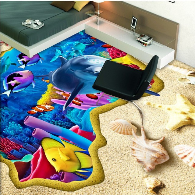 Study Room With Aquarium: Free Shipping Beach Dolphin 3D Floor Floor Painting Office