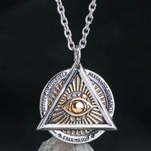 Mygrillz collier en acier inoxydable pour hommes, yeux du diable, pendentif hexagonal, tête de mort, côté bijoux de haute qualité