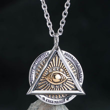 The Devil Eyes hexagon Masonic  pendant Stainless steel necklace for  Men skull sided High quality Jewelry  mygrillz