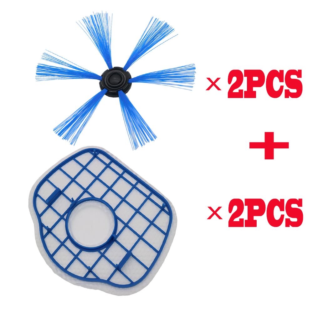 2Pcs HEPA Filter+2Pcs Side Brush Vacuum Cleaner Filters Replacement For Philips Robot FC8700 FC8710 FC8603 Vacuum Cleaner Parts