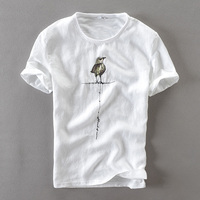 Summer O Neck White T Shirt Men Flax Bird Printed Embroidery Men T Shirt Casual Brand