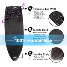 Chamring 8A Peruvian Virgin Hair Straight 6pc Clip In Human Hair Extension Brazilian Remy Human Hair Pure Color Clip