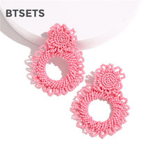 Women Fashion Earrings 2019 Beads Drop Earrings For Women Wedding Jewelry Party Gifts Luxury Round Pendientes Earings Hanging(China)