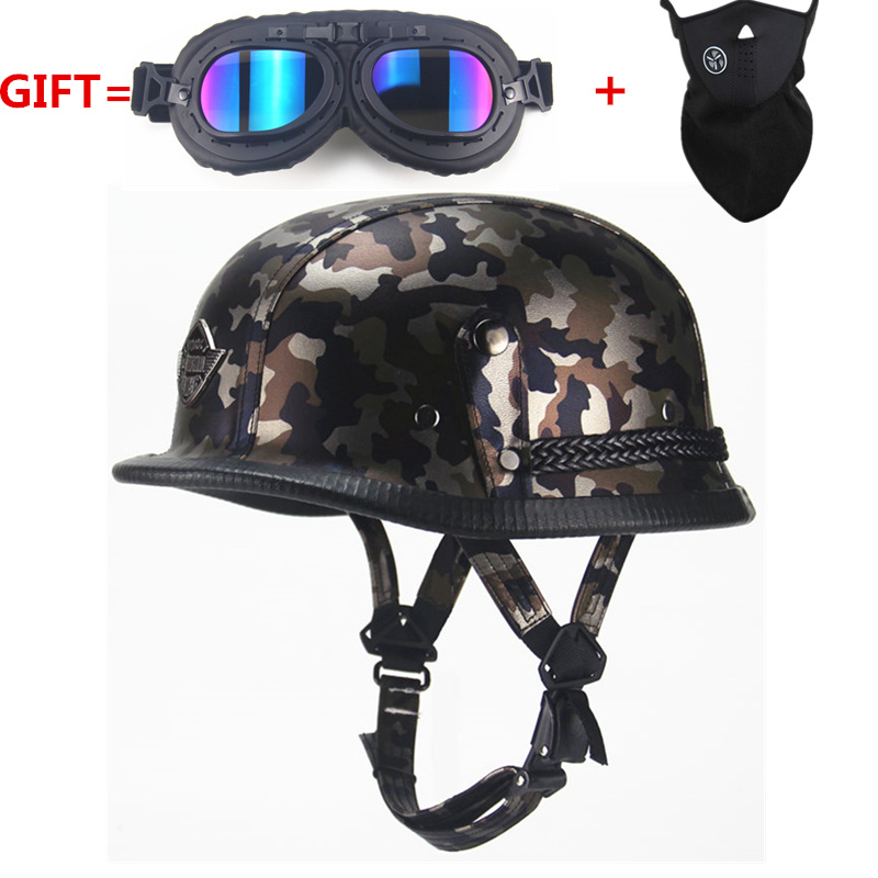 Helmet Wwii-Style Motorbike Camouflage Open-Face Half-Leather