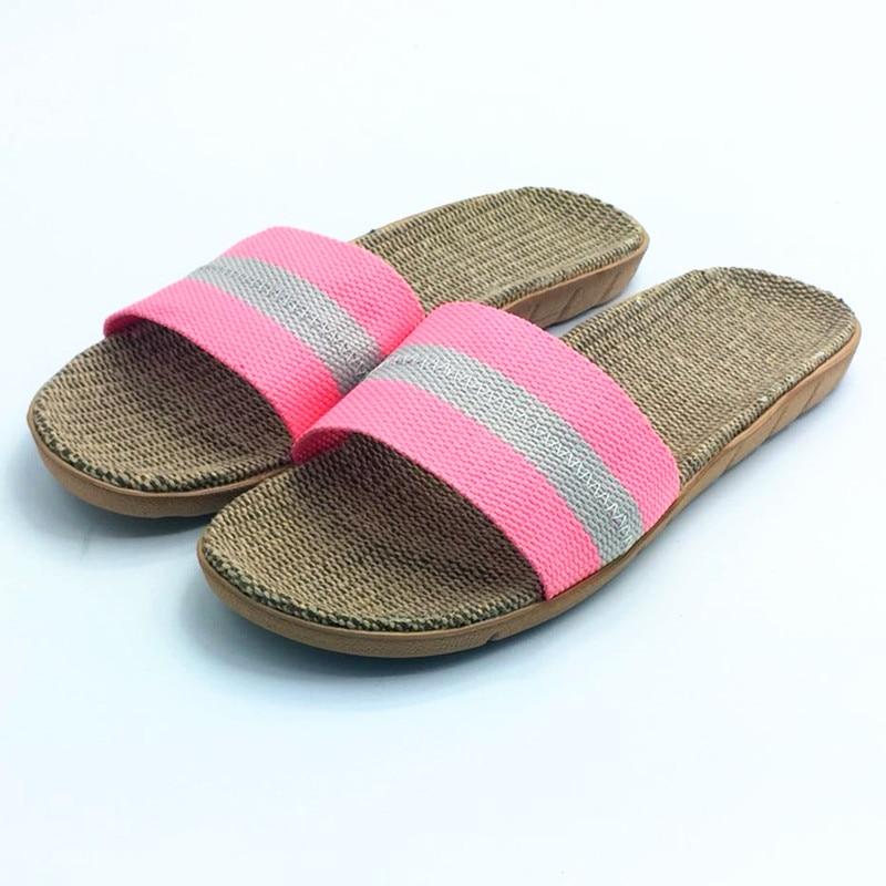 Zomerlinnen Slippers Ademend Comfortabel Thuis Slippers Slide - Damesschoenen - Foto 5
