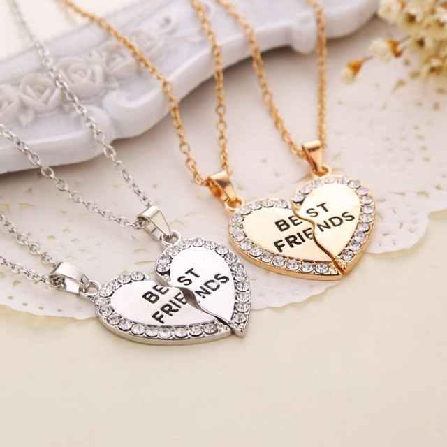 Best Friends Pendant Necklaces Heart Shape BFF necklaces Rhinestone Gold Silver
