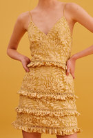 2019 Summer New Arrival Lace Hollow Out Mini Dress Women Yellow Strapless Casual Holiday Dress su156