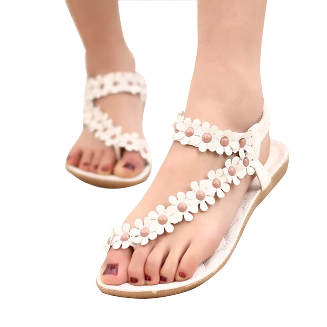 VTOTA Summer Beach Shoes Women Sandals Women Breathable Ladies Shoes Bohemia Women Shoes Flower Sandals Flats Flip Flops 426