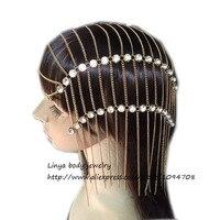 HC-334 الفاخرة أزياء المرأة الشرير متعدد الطبقات حجر رئيس سلسلة المجوهرات كوندان الجبين عقال الشعر قطعة هيئة المجوهرات