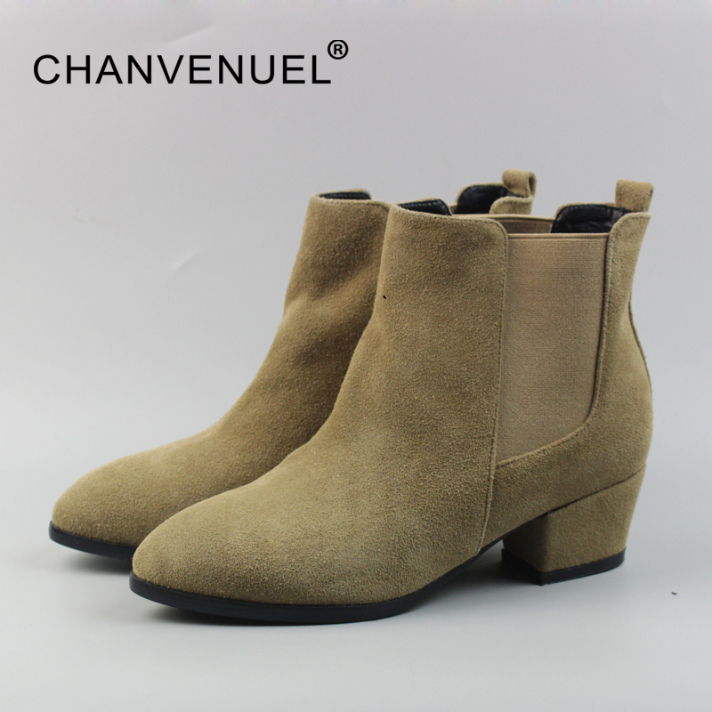 Autumn Leather Chelsea Boots Women High Quality Cow Suede Women's Ankle Boots Med Heels Pointed Toe Fashion Boot Office Laides цены онлайн