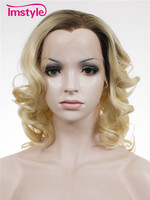 Imstyle Wavy Ombre Dark Root Blonde color 16 inches Synthetic lace front wig for women cosplay bob wigs