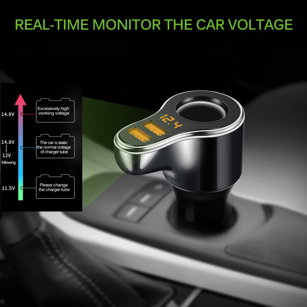Image 5 - Onever DC 12 24V Car Cigarette Lighter Socket Charger& 3.1A Dual USB Car Charger Adapter with Volmeter Support Fast Charge-in Cigarette Lighter from Automobiles & Motorcycles