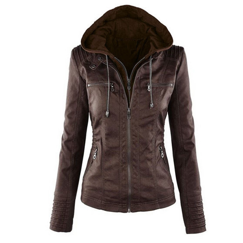 2018 New Plus Size 7XL Bomber Jackets Women Spring Long Sleeve PU   Leather   Motor Jackets Hooded Detachable Slim Jacket Coat D420