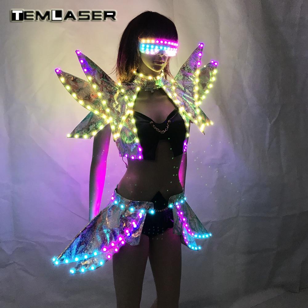 Ropa LED Dama Moda Ropa Brillante Mujeres Sujetador Pantalones cortos - Novedad