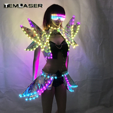 LED Kläder Lady Kläder Mode Glödande Kvinnor Bra Shorts Alice Axel Armour Suits Ballroom Dance Dress