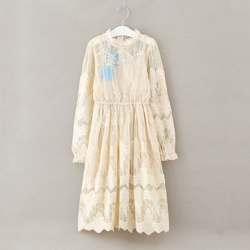 tanggetu Girl Dress Long Sleeved Lace Princess In Summer Child Dress Spring 2018 New Long Cloth for girls off-white clothing big girl child dress toddler dress for girls ruffles white princess girl children dress summer spring 2018 new teenagers dress