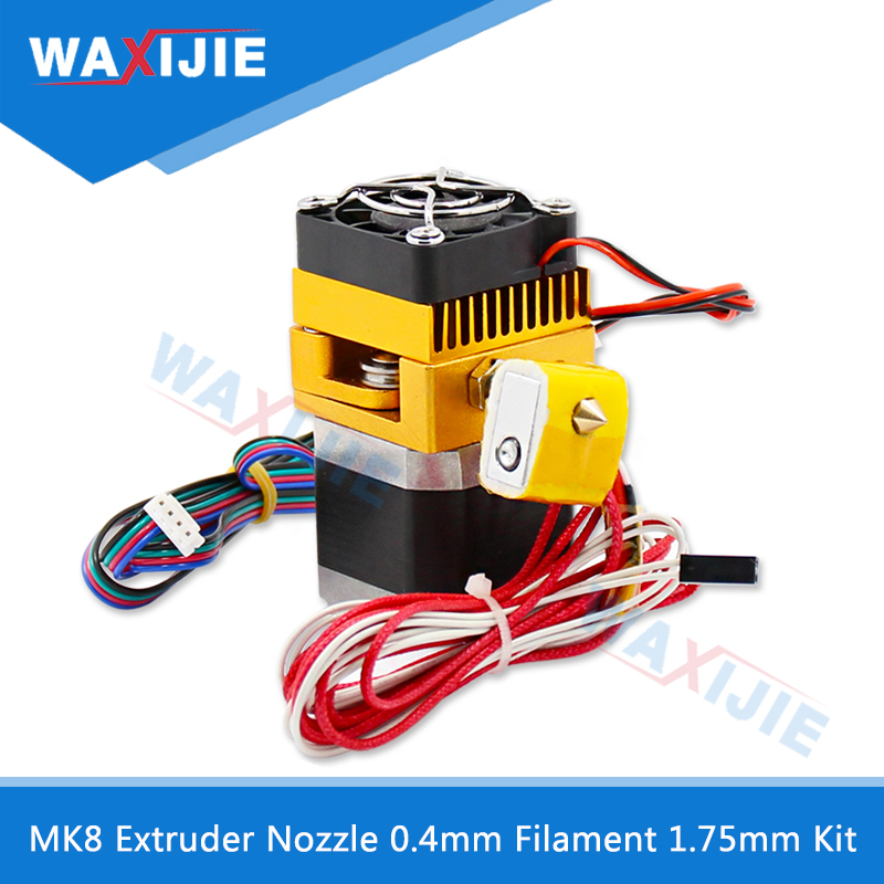 MK8 Extruder 0.4mm Nozzle 1.75mm Filament Kit J-head Extrusion Hotend Head 3D Printers Parts With Motor Throat Aluminum Part недорго, оригинальная цена