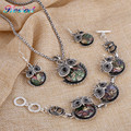 Vintage Abalone Shell Owl Jewelry Sets Fashion Enamel Hibou Pendant Necklace Earrings Charm Bracelet Set 4pcs Silver Jewelry Set