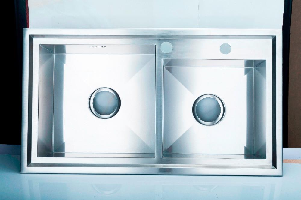 (78X43x22 cm) évier de cuisine fait à la main à Double cuve, évier en acier inoxydable 304 avec robinet mitigeur chaud et froid - 4