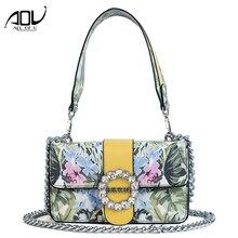 ec28a64297 Fashion Rhinestone Lock Shoulder Bags for women 2018 Crossbody Messenger  Bags Female Flower Print PU Leather