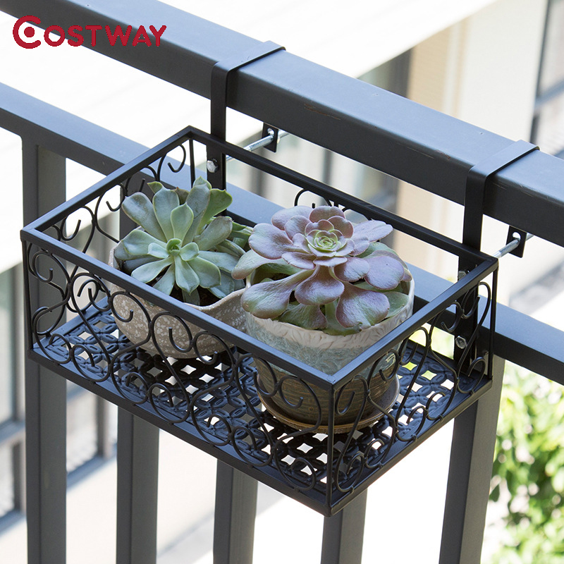 COSTWAY Balcony Hanging Flower Stand Iron Rack Plant Stand Metal Shelf Plant Shelf Outdoor Decor W0286 sitemap 461 xml