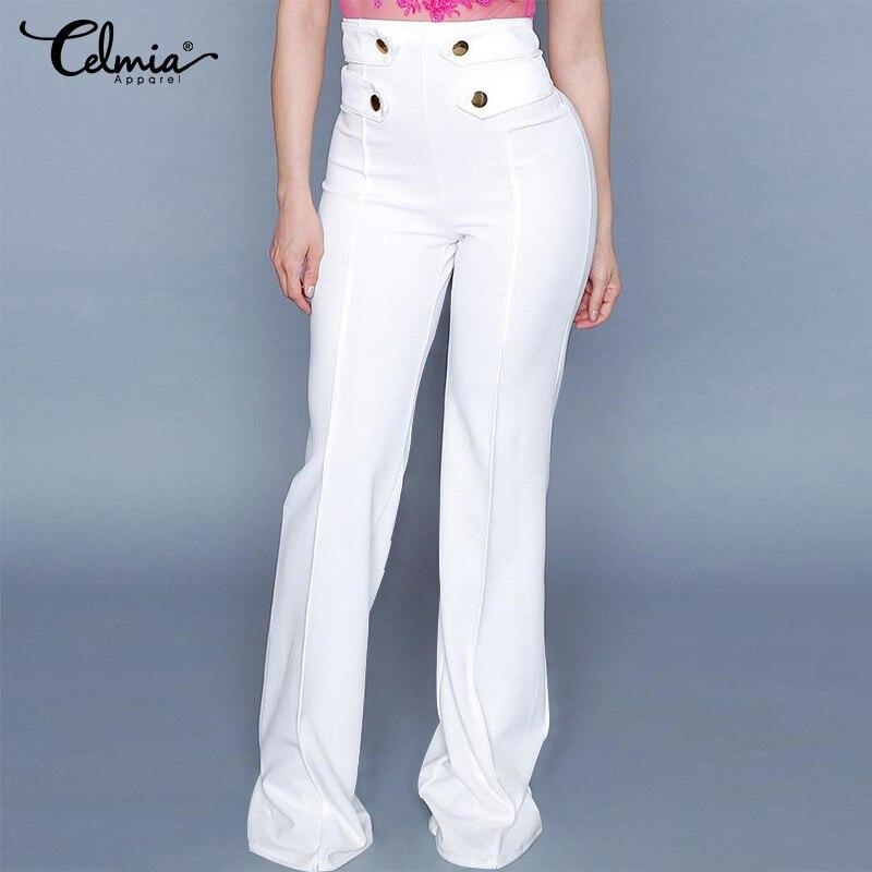 Elegant Women   Pants   Celmia 2019 Fashion Casual High Waist Buttons   Wide     Leg     Pants   Office Palazzo Long Trousers Plus Size Bottoms