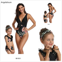 цены на Mommy and Me Swimsuit  Floral Mother Daughter Swimsuit printing piece double lotus leaf Parent-Child Swimwear Family matching в интернет-магазинах
