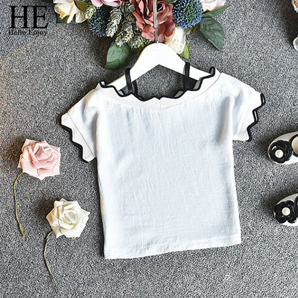 53a80401172 HE Hello Enjoy Girls Summer Set Toddler Girl Clothing 2018 Kids White  Condole Belt Tops+Stripe Shorts Suits Children Clothes -in Clothing Sets  from Mother ...