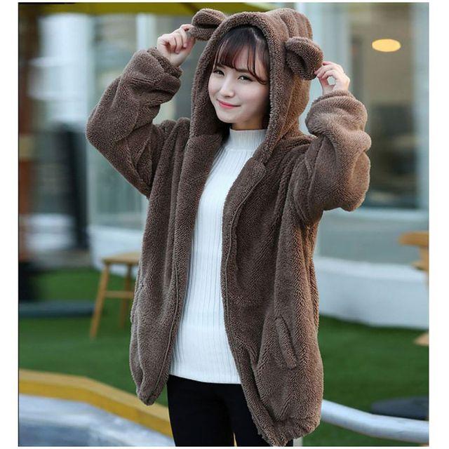 Mulheres Bonito Camisola Hoodies Zíper Inverno Da Menina Fofo Solto Capuz Ouvido Urso Com Capuz Jaqueta Casaco Outerwear Quente