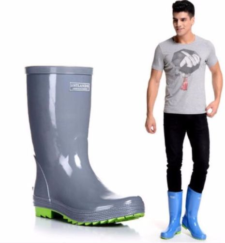 Mens Rubber Flat Waterproof Shoes Round Toe Motorcycle Mid-calf Rain Boots Plus Big Size