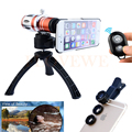 Phone Lenses Kit 12.5X Telephoto Zoom Telescope Lens+Tripod+Macro Wide Angle Fisheye lentes For iPhone 6 6s 7 Plus 5 5s se 4 4s